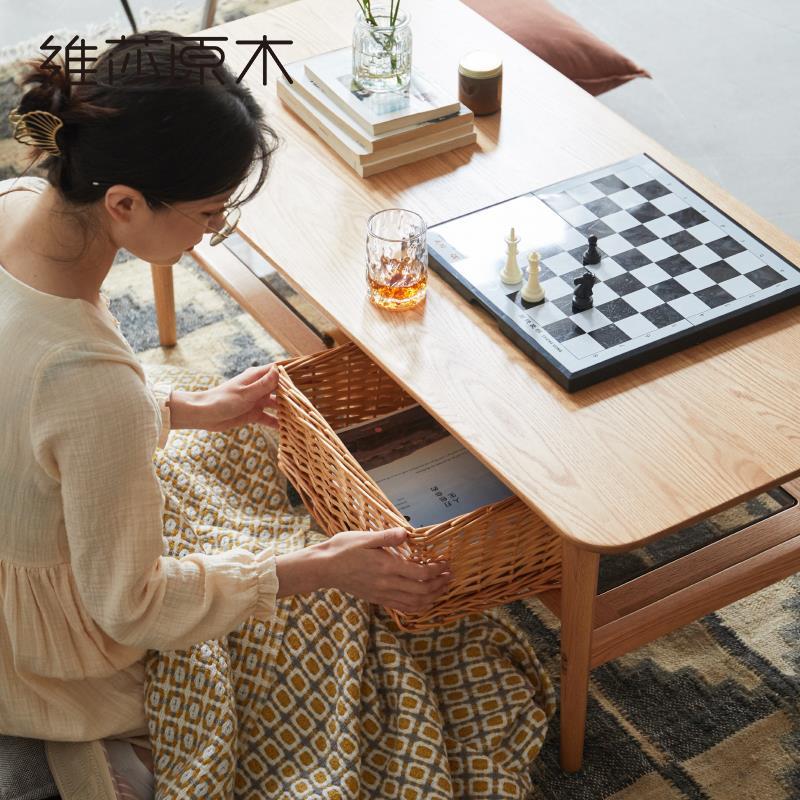 全實木茶幾北歐小戶型帶玻璃茶臺2020新款現代客廳簡約式茶桌♠極有家♠
