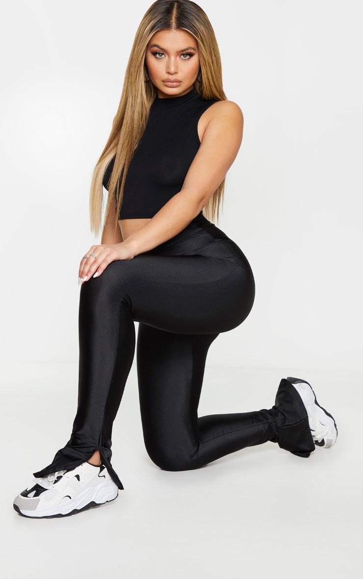 Black Zip Hem Disco Leggings