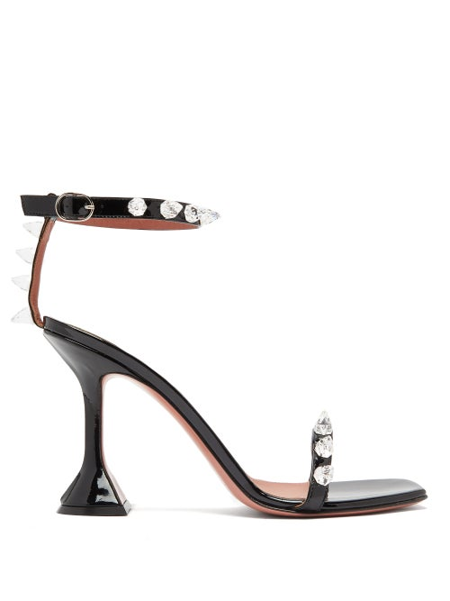 Amina Muaddi - Julia Spike-embellished Wraparound Pvc Sandals - Womens - Black