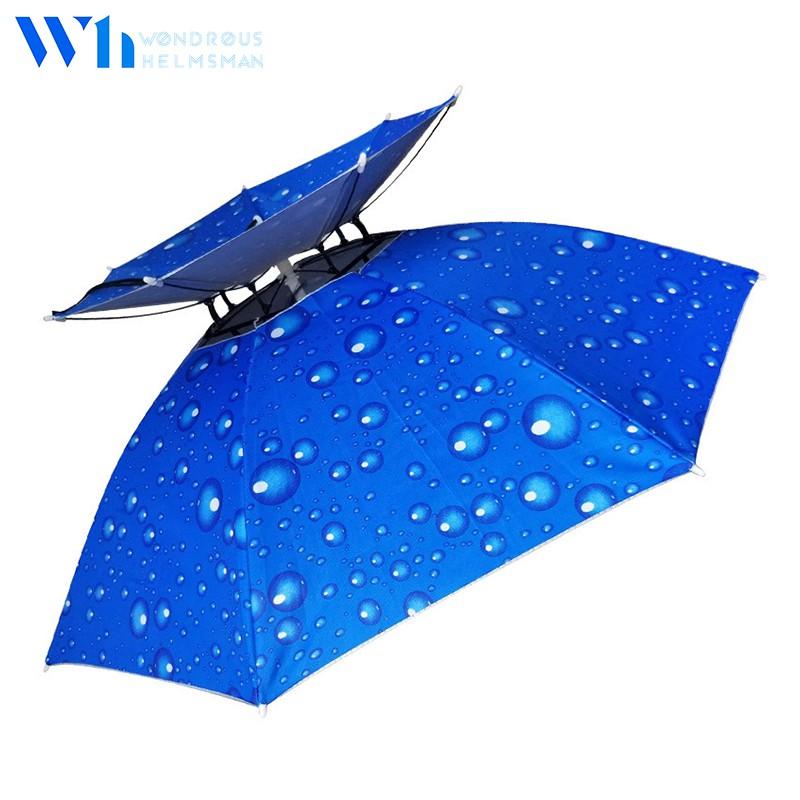 『W.H』 防風抗紫傘帽|優質牛津布 戶外用品 防風透氣 傘帽 帽傘 雙層傘帽 漁夫帽 釣魚帽