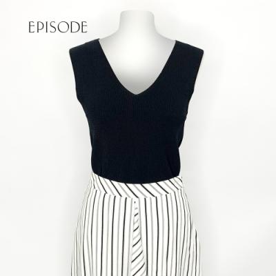 EPISODE - 黑色素面V領輕薄內搭針織背心上衣