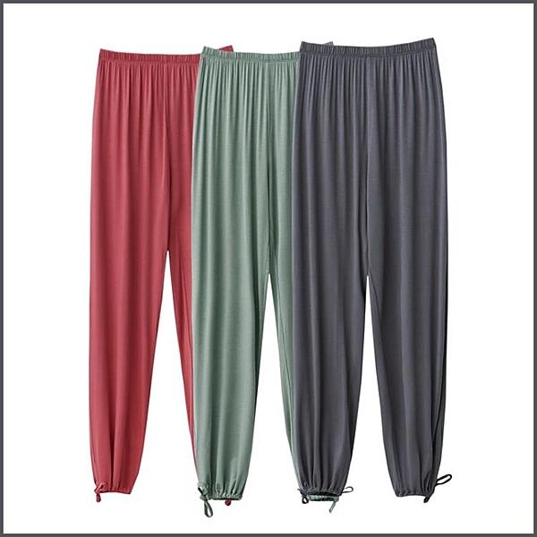 睡褲 莫代爾家居睡褲女夏季薄款寬鬆束腳燈籠褲外穿休閒大人防蚊長褲子-Ballet朵朵