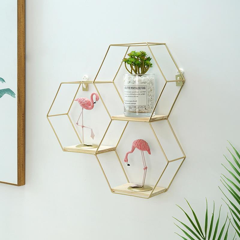 ins創意簡約北歐風墻上壁掛飾客廳臥室房間布置餐廳裝飾品置物架♠極有家♠