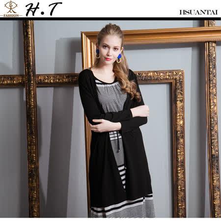 玄太- 細縷空舒適針織長板罩衫(黑)