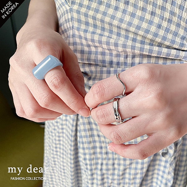 MD韓【A08200012】寬版不規則戒指組合3色