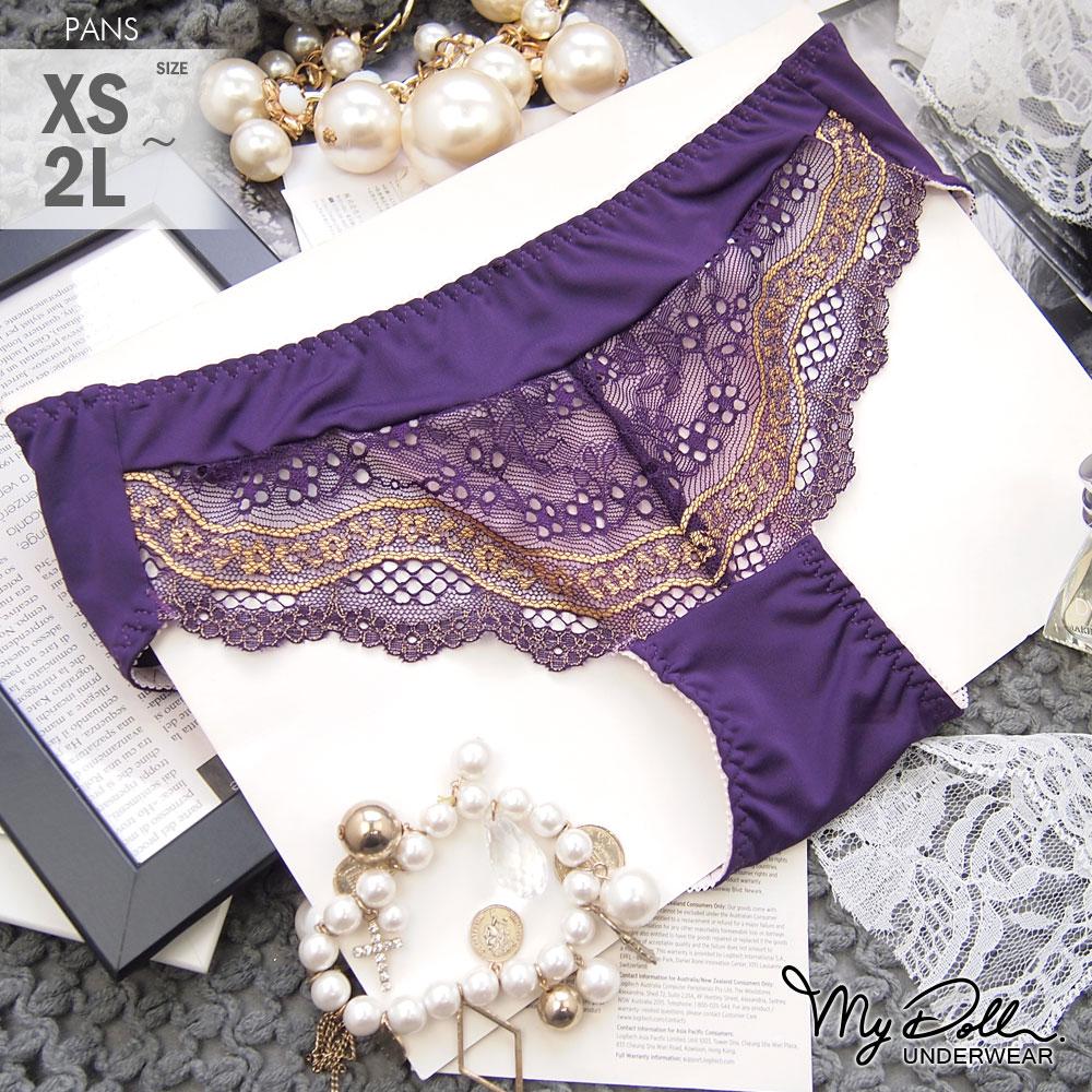 內褲【買2送1 / 贈品隨機】MyDoll 柏林晚宴 彈性萊卡蕾絲高腰三角褲(紫色/XS到2L適穿)