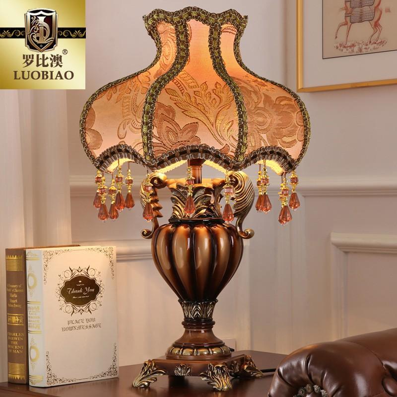 臥室床頭燈歐式復古典創意北歐奢華美式裝飾書房客廳藝術裝飾臺燈
