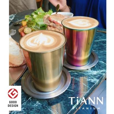 TiANN 鈦安純鈦餐具 330ml 純鈦雙層咖啡杯含矽膠防漏杯蓋 (金色)