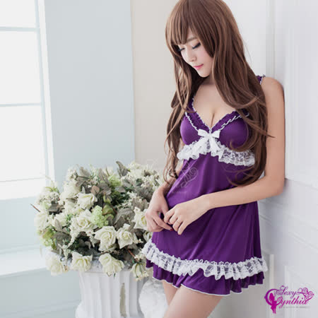 【Sexy Cynthia】迷紫蕾絲柔緞睡衣