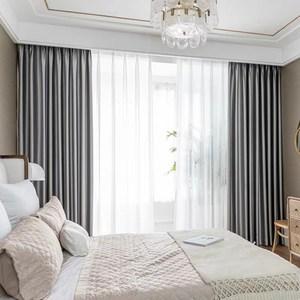 【三房兩廳】北歐復古輕奢仿真絲高密度加厚遮光窗簾/1窗2片組(古典灰)