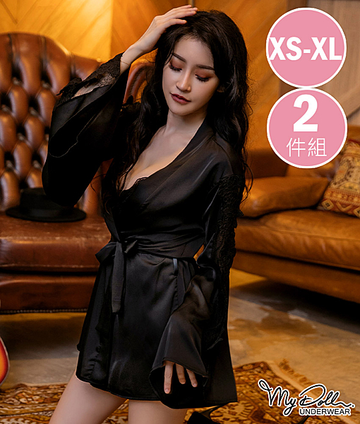 罩衫 涓淺媚香 柔緞蝴蝶袖傘罩衫二件組(黑色/XS到XL適穿) MyDoll