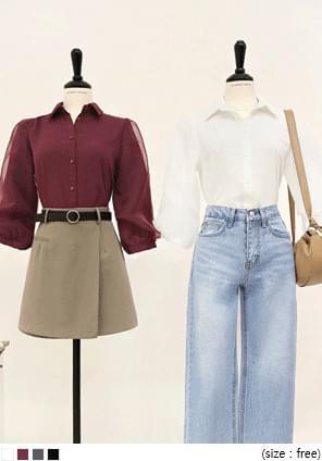 韓國空運 - 薄紗裝飾泡泡袖排釦上衣 襯衫