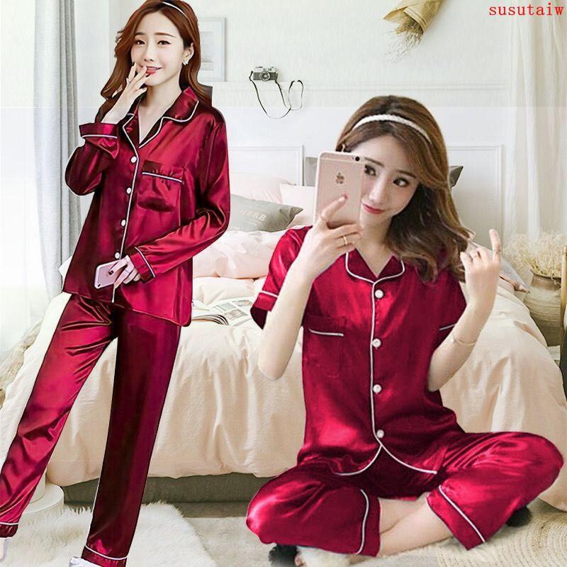 睡衣女夏季冰絲性感短袖長褲學生韓版可愛大碼仿真絲家居服兩件套