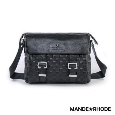 MANDE RHODE - 巴弗洛 - 真皮棋盤格紋雙面掀蓋側背包 - X60742