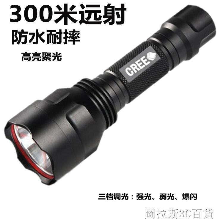 (快出)CREE強光手電筒可充電便攜迷你超亮多功能戶外自行車騎行修車照明QM 交換禮物