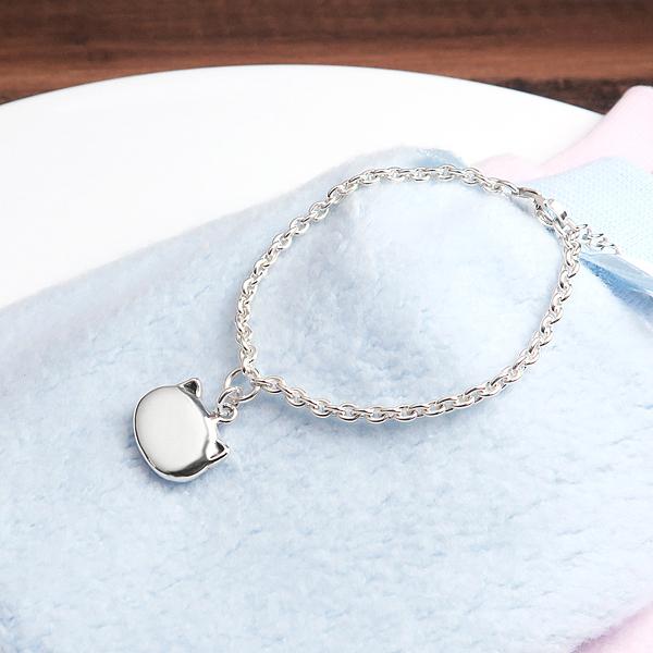 淘氣小貓 親子兒童手鍊(細版) 925純銀客製化刻字手鍊 嬰幼兒彌月禮 親子銀飾