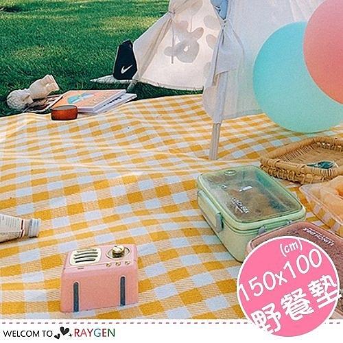 戶外便攜式格紋野餐墊 防潮墊 一體式收納 150x100
