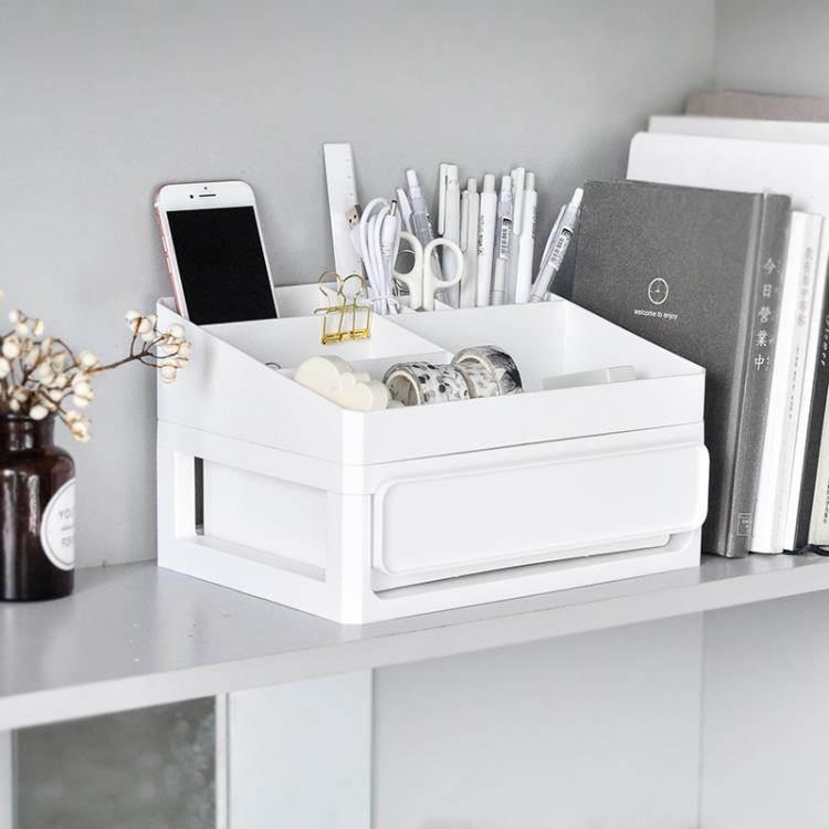 留白美學文藝寢室簡約書桌面抽屜式收納盒學生宿舍化妝護膚品雜物