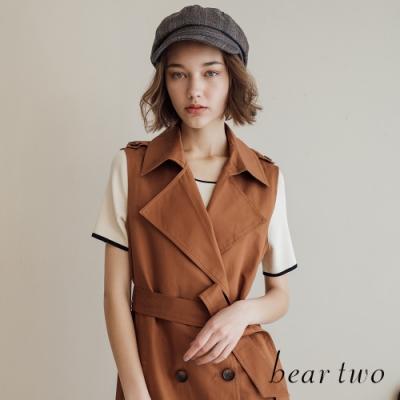 beartwo-雙排釦翻領風衣背心-兩色