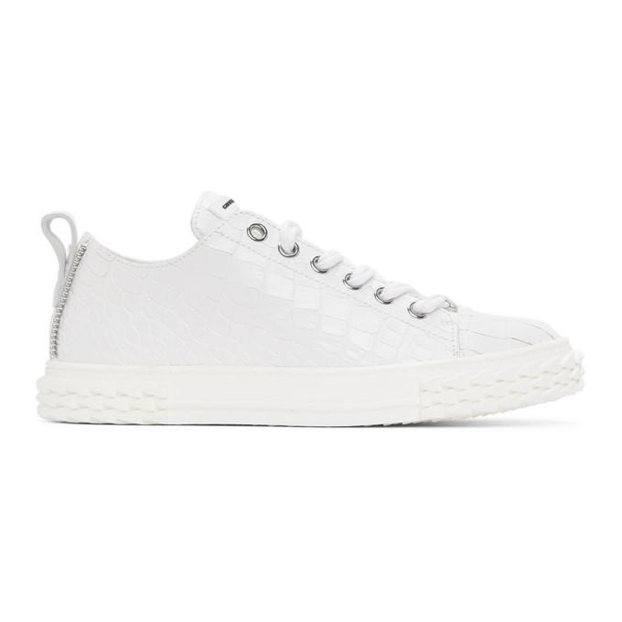 Giuseppe Zanotti 白色 Blabber 鳄鱼纹运动鞋