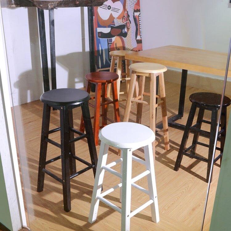 實木吧台椅 酒吧高腳凳 簡約奶茶店高椅子 家用現代北歐手機店高凳子  ♠極有家♠