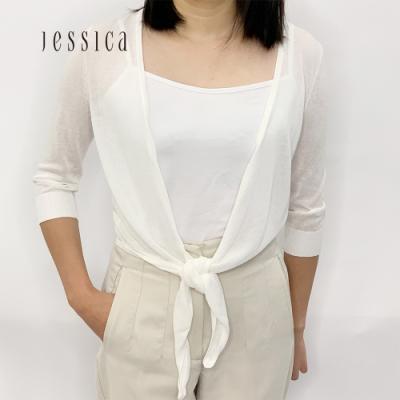 JESSICA - 白色輕柔百搭綁帶針織外套