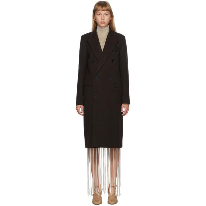 Bottega Veneta 棕色羊毛骑兵斜纹双排扣大衣