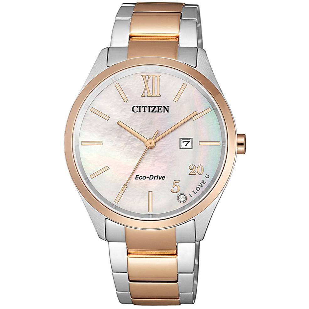CITIZEN 星辰 PAIR 對錶女仕雙白蝶貝優雅腕錶-34.5mm(EW2456-88D)送TESCOM 廠商直送