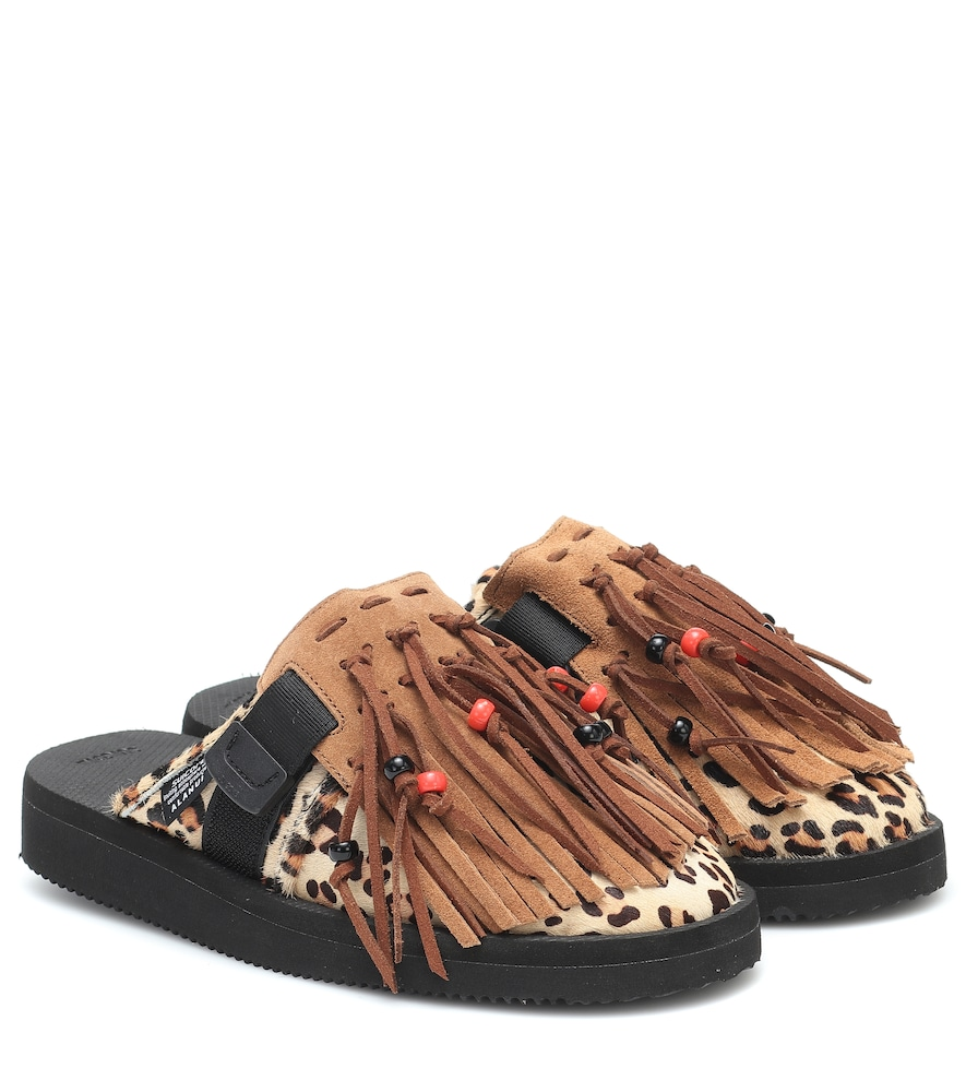 x Suicoke leopard-print calf hair slippers