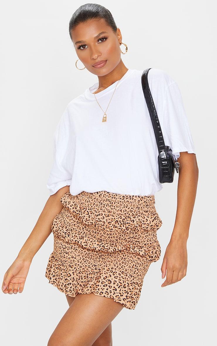 Tan Leopard Tiered Frill Mini Skirt