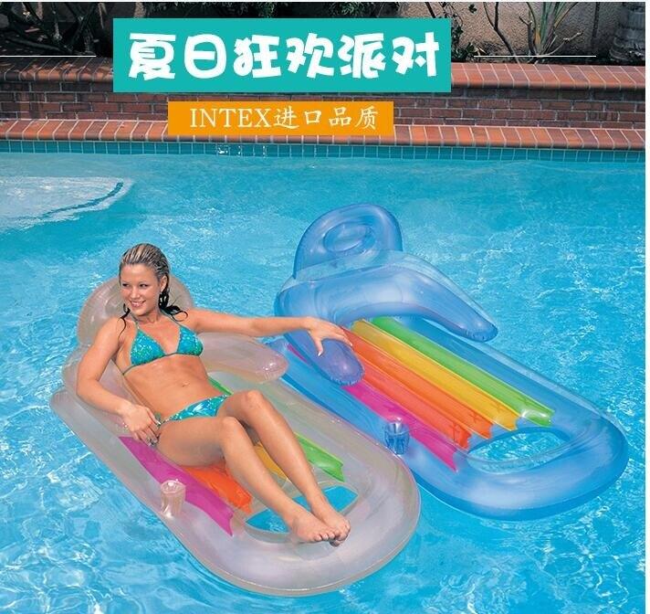 (快出)INTEX水上浮床充氣浮排泳池海邊坐騎玩具貝殼菠蘿浮板成人游泳圈 交換禮物