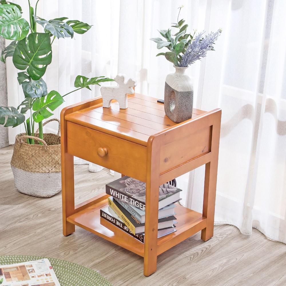 Boden-萊恩1.5尺實木附插座床頭櫃/邊桌/小茶几/收納置物櫃(柚木色)