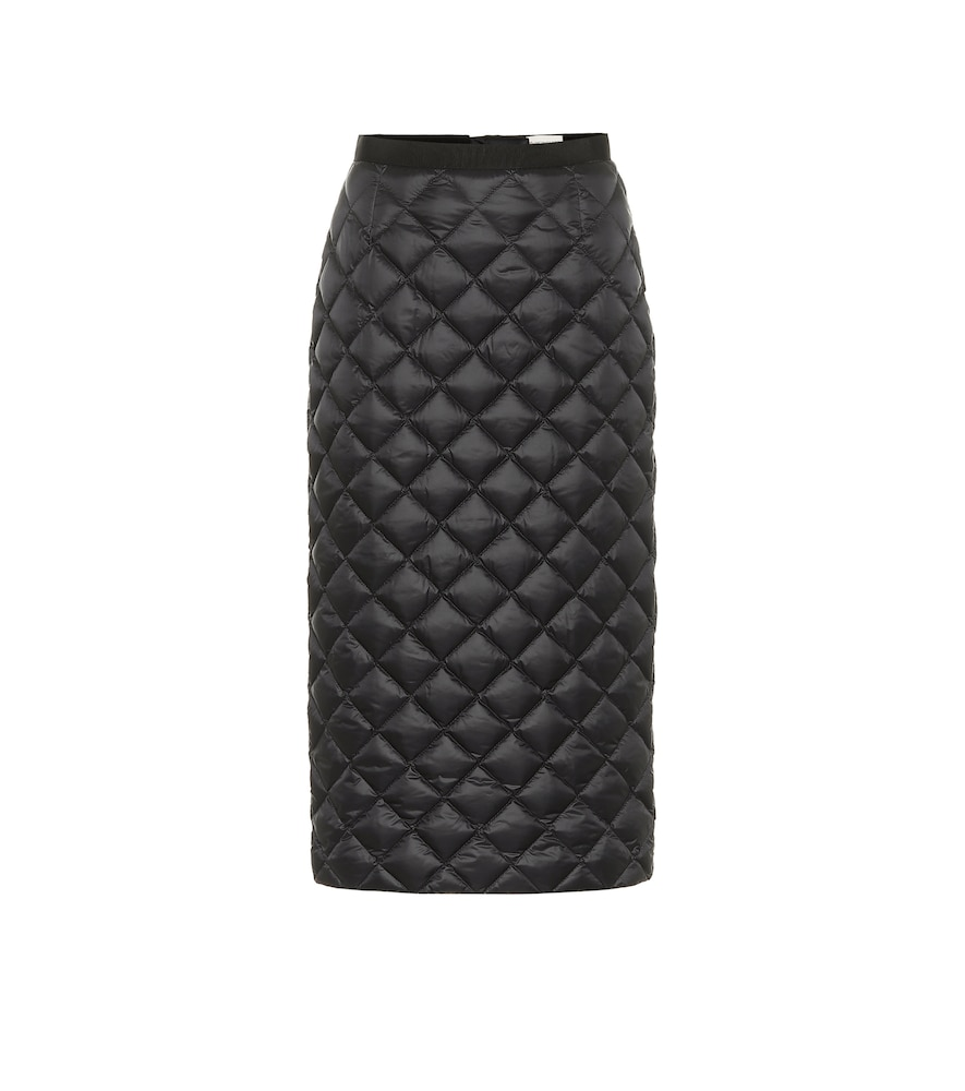 High-rise down midi skirt