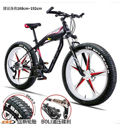 locco雪地越野沙灘山地大輪胎自行車男4.0粗寬鋁合金超變速單車女 依凡卡時尚