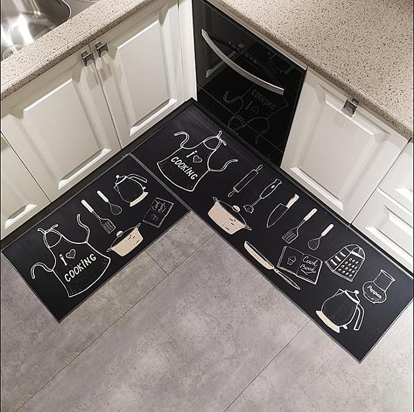 廚房地墊可水洗廚房地墊長條防滑吸水防油地毯吸油墊子耐髒腳墊可擦免洗 莎瓦迪卡
