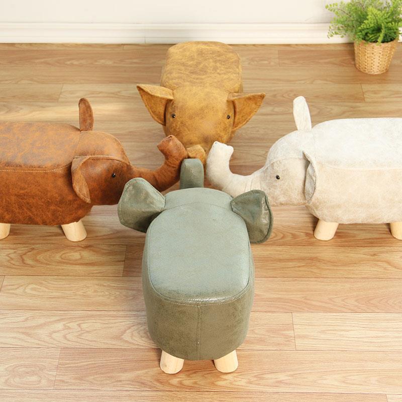 時尚創意小凳子家用卡通矮凳子實木沙發凳客廳小椅子腳凳小板凳♠極有家♠