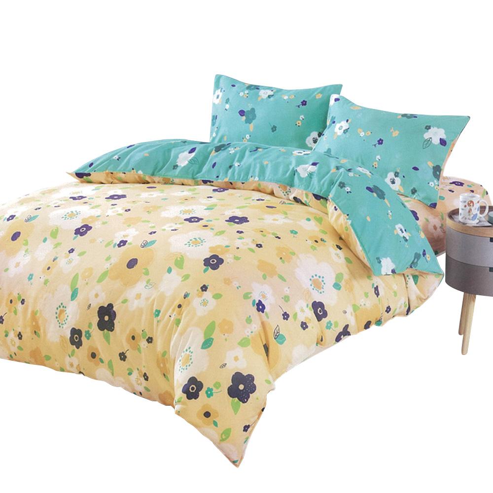 【Indian】柔絲絨雙人四件式印花兩用被床包組-戲彩