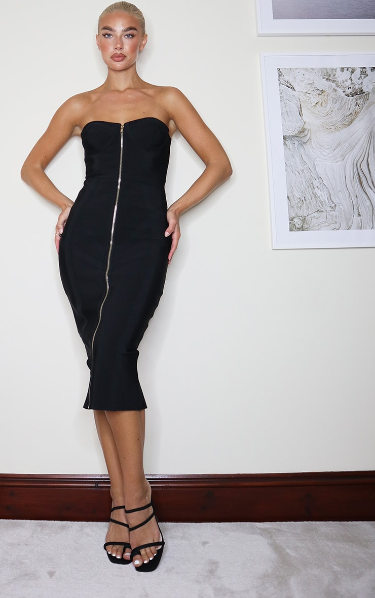 Black Bandage Bandeau Zip Front Midi Dress