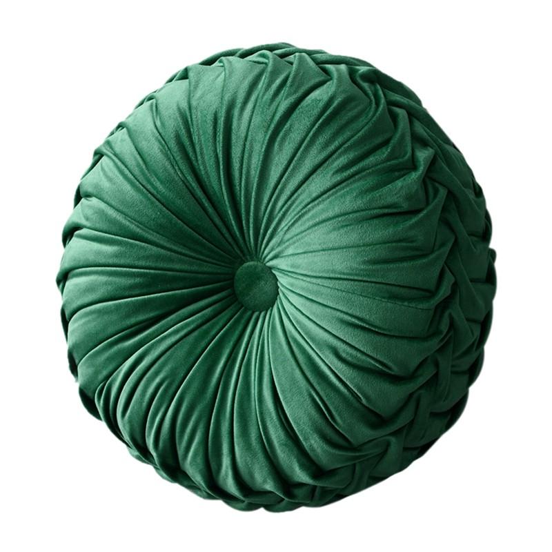 歐式輕奢圓形坐墊純色純手工褶皺靠墊羽絲棉枕芯軟裝飾品床頭抱枕