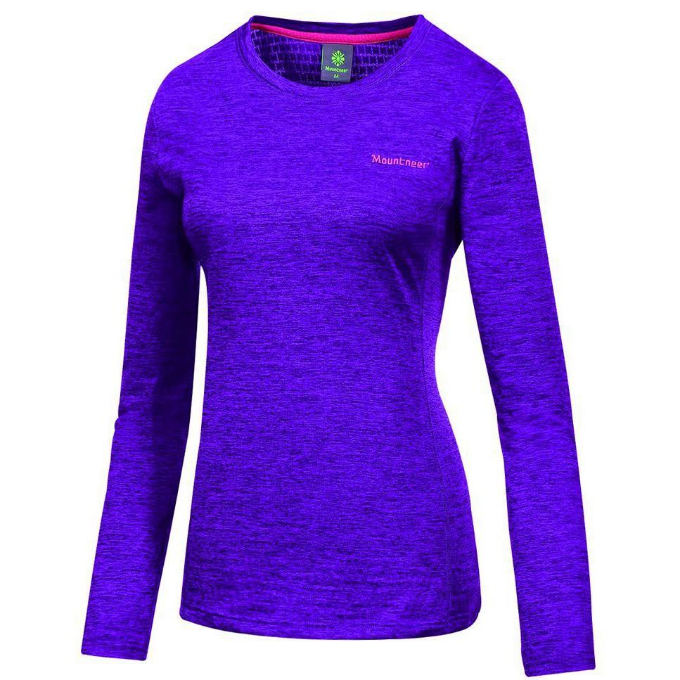 【Mountneer山林】女款圓領 雲彩針織保暖上衣22P18-89 紫色 保暖衣/中層衣/ 單刷衣/吸濕排汗/野雁戶外