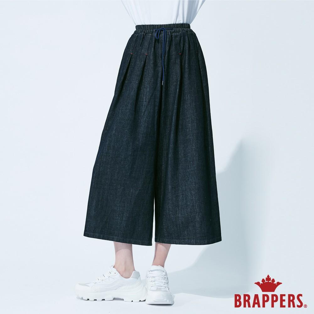BRAPPERS 女款 Boy friend系列-鬆緊帶打摺寬褲-藍