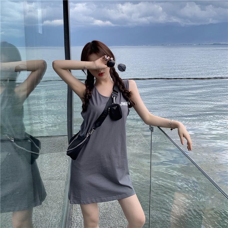 夏季新款韓版寬鬆顯瘦運動無袖背心裙氣質百搭休閑洋裝女潮