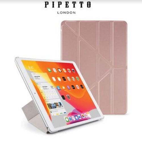 PIPETTO Origami iPad 10.2吋 多角度多功能保護套 - 玫瑰金/透明背蓋 [當日配]