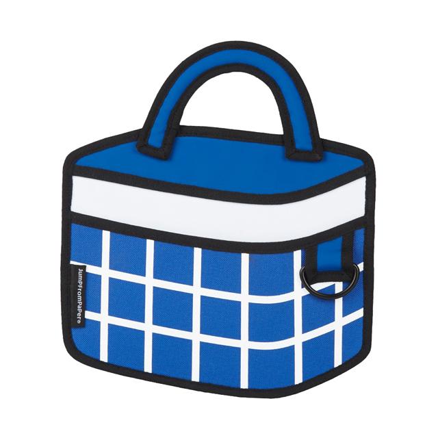 JumpFromPaper 2D卡通包 深藍格紋野餐包 肩背包 手提包