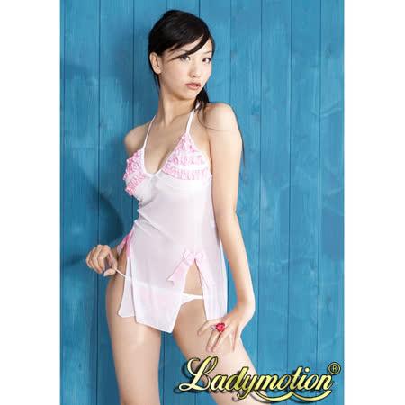 【Ladymotion】粉紅波浪♥ 薄紗性感睡襯衣