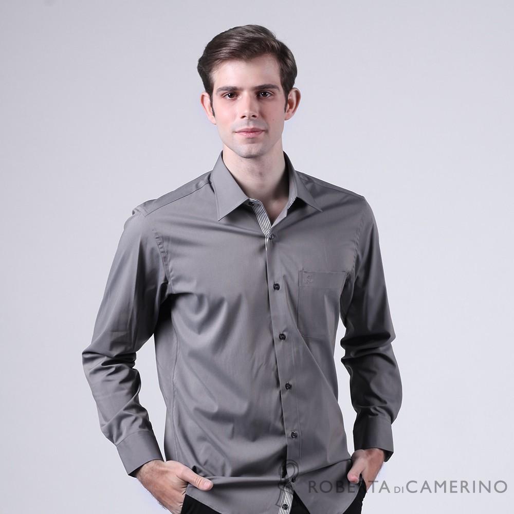 ROBERTA諾貝達 進口素材 台灣製 合身版 舒適柔軟長袖襯衫 深灰