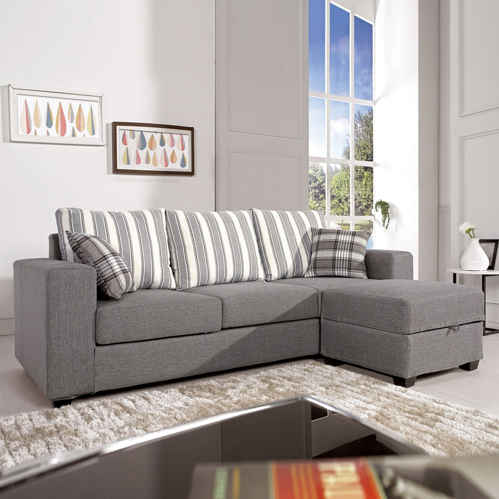 Boden-麗莎L型布沙發椅組合-送抱枕