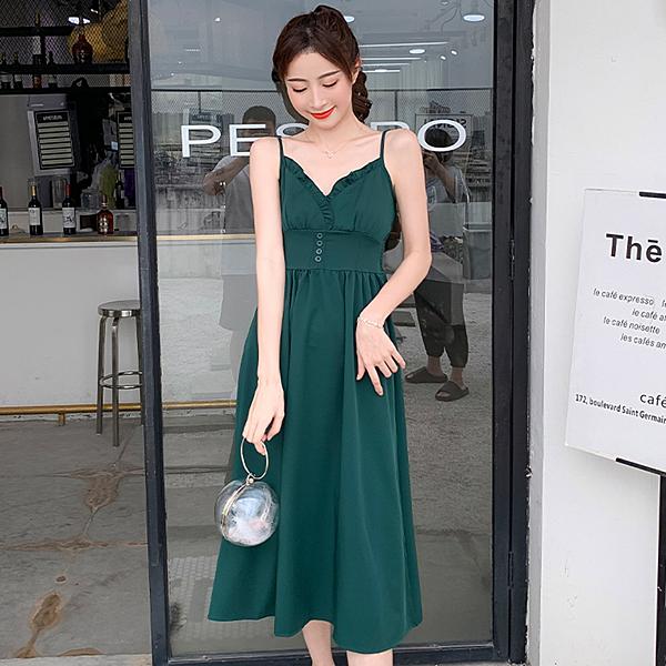 法式復古高腰中長款連身裙洋裝(綠色S~XL)*ORead*
