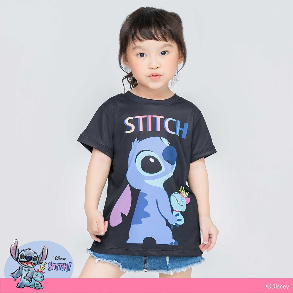 【WIWI】天真史迪奇防曬排汗涼感衣(兒童-經典黑100-150)