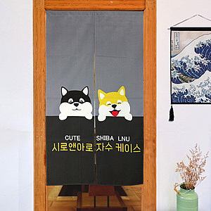 【LASSLEY】麻布門簾-柴犬(四色可選)85x150cm 台灣製造灰